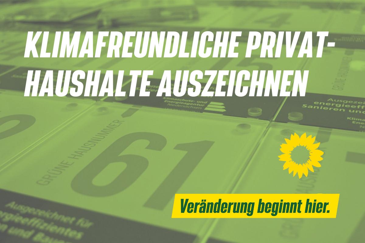 KLIMAFREUNDLICHE PRIVAT-HAUSHALTE AUSZEICHNEN